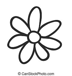Hand Drawn flower - Black and White doodle illustration...