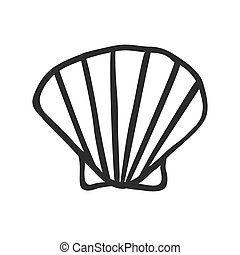 Hand Drawn shell - Black and White doodle illustration...