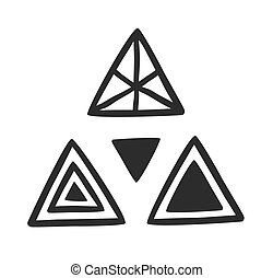 Hand Drawn set of sacral triangle - Black and White doodle...