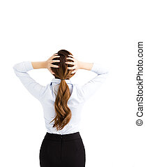 Rear View of Worried businessWoman Holding her Head