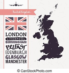 Set of flag and map Great Britain - Vector set with map...