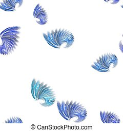 Seamless blue colored fractal wings pattern on white...