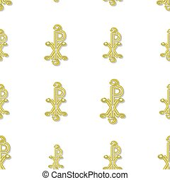 Seamless yellow labarum pattern  on white background