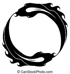 Ouroboros tattoo design. Fish. Snake. Isolated on white...