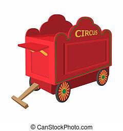 Circus wagon cartoon on a white background