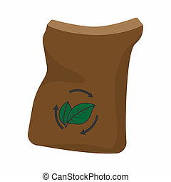 Bag of manure cartoon icon isolated on a white background