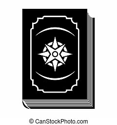 Book with eight-pointed star black simple icon on a white...