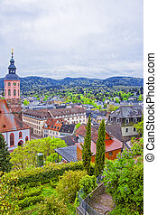 Panoramic view of Baden-Baden church Stiftskirche and the...