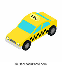 Taxi car isometric 3d icon on a white background