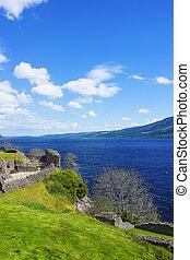 Ruins in Urquhart Castle in Loch Ness in Scotland Loch Ness...
