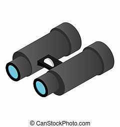 Black binoculars isometric 3d icon on a white background