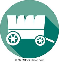 old horse wagon flat icon (wooden cart)