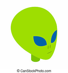 Green alien head 3d isometric icon isolated on a white...