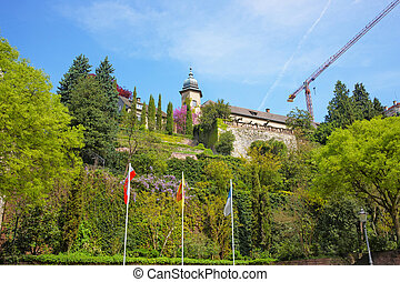 View on New Castle and its Terrace in Baden-Baden...
