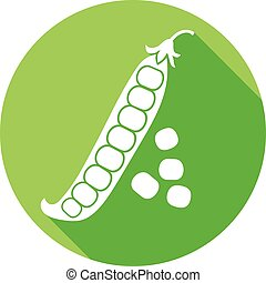 green peas flat icon (pea pod)