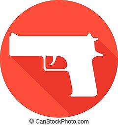 arma de fuego, plano, icono,