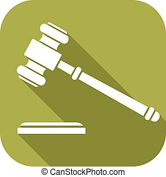 hammer of judge or auctioneer flat icon - gavel flat icon -...