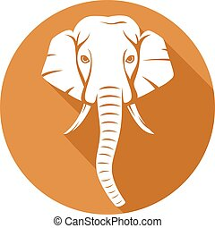 indian elephant head flat icon