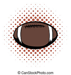 American football comics icon Oval ball for american...
