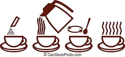 making instant coffee icons make instant coffee icons,...