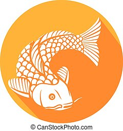 koi fish flat icon (japanese or chinese inspired koi carp...