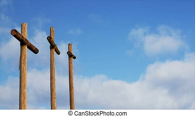 Clouds and Three Crosses Loop - Three rugged wooden crosses...