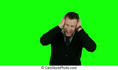 Very angry businessman Green screen - Businessman shouting...