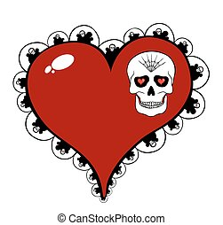 Red heart with skull motif isolated on white