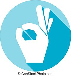 human okay hand flat icon (OK hand symbol, hand showing okay...