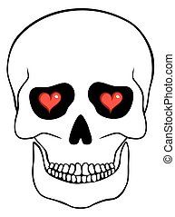 Abstract skull with hearts isolated on white