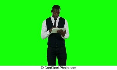 Business man makes online shopping Green screen - Business...