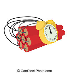 Bomb with clock timer cartoon icon