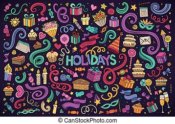 Colorful set of holidays object - Colorful hand drawn Doodle...
