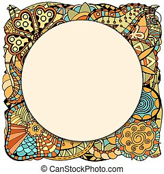 round papper frame on leaves and flower - Beautiful round...