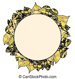 round papper frame on leaves - Beautiful round papper frame...