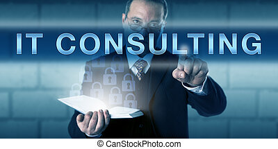 Male Project Manager Pressing IT CONSULTING - Male project...