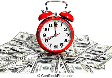 "alarm clock over dollars - ""Time is money\"" concept -..."