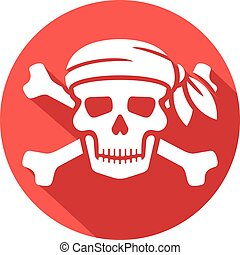 pirate skull with red bandanna and bones flat icon skull...
