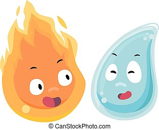 Mascots Fire Water Face Each Other - Mascot Illustration of...