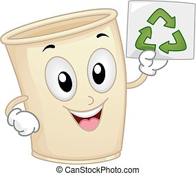 Mascot Recycle Paper Cup Promote Recycle