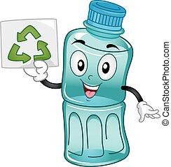 maskot, återanvända, plastisk, flaska,...