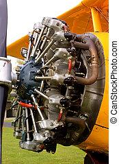 Radial engine of a biplane - Historic engine of an historic...