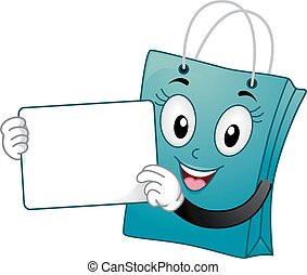 Mascot Shopping Bag White Board - Mascot Illustration of a...