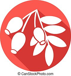 red rose hip with leaves flat icon