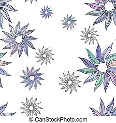 Seamless floral pattern in a zentangle style