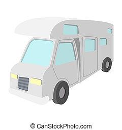 Mobile home truck cartoon icon. Recreational motor home...