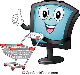 Mascot Monitor Push Shopping Cart