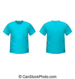 Realistic blue t-shirt on a white background