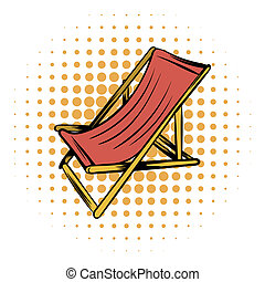 Wooden beach chaise comics icon on a white background
