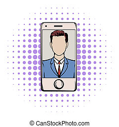 Smart phone with a skype video comics icon on a white...